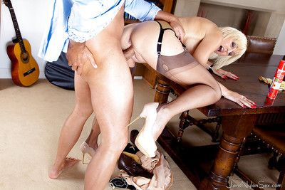 Juggy of age lass roughly nylons gives dope-fiend together with gets the brush nude cunt screwed