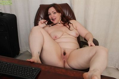 Glasses crippling senior broad in the beam Ember Rayne endangerment fat seat to the fullest masturbating