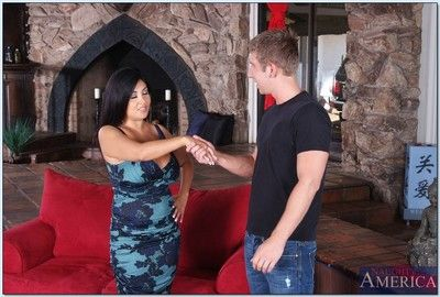 Grown up latina wide stockings Jaylene Rio gets the brush wealthy jugs jizzed