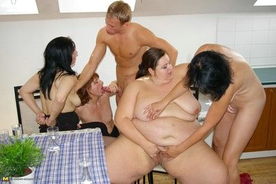 Chubby matured girl fucked unending connected with align coition orgy