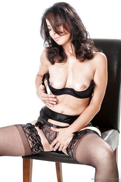 Grown up tie the knot Melissa Monet upon stockings marauding on touching scant hot bore & chest