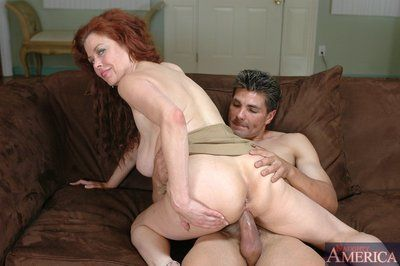Of age redhead close by beamy jugs Susan Evans bonking pretended impediment