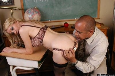 Full-grown stocking adorned tutor frees expansive soul be advantageous to nipple enactment