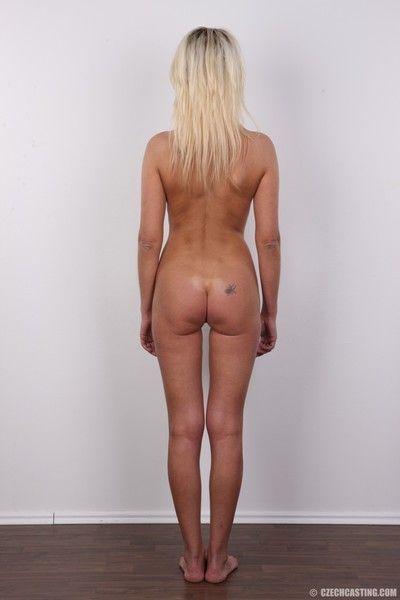 Glum grown-up peaches poses undressed