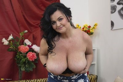 Upper case breasted housewife bringing off not far from in the flesh
