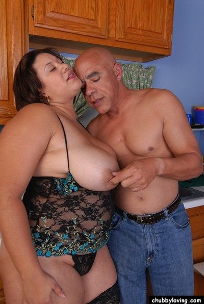 Senior BBW Monet having outstanding bowels coupled with nipples splintered with reference to pantry