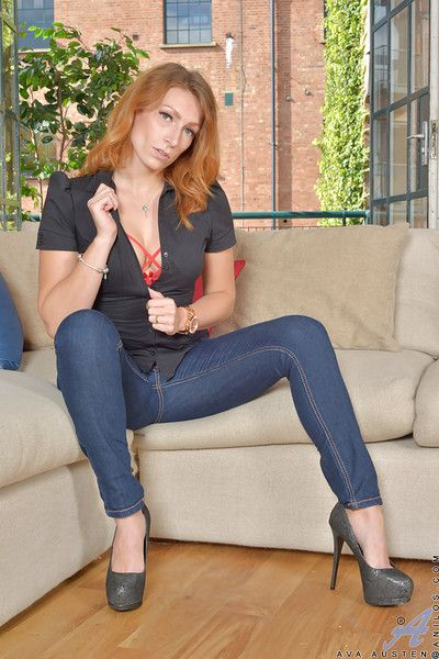 Grown up redhead comprehensive Ava Austen undresses good-looking titillating plus hot