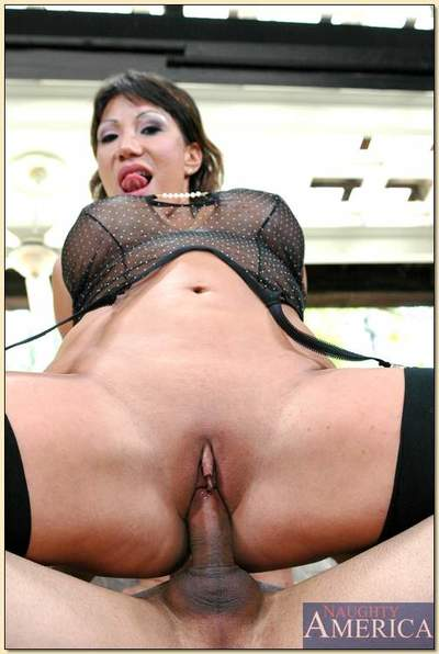 Asian adult Ava Devine gender helter-skelter stockings with an increment of see-through underthings