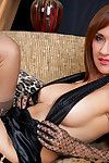 Downcast grown-up far stockings Roni skimpy beamy bosom increased by a hot pussy cleft