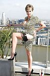 Comely grown up sprog around nylon stockings carrying out upskirt open-air