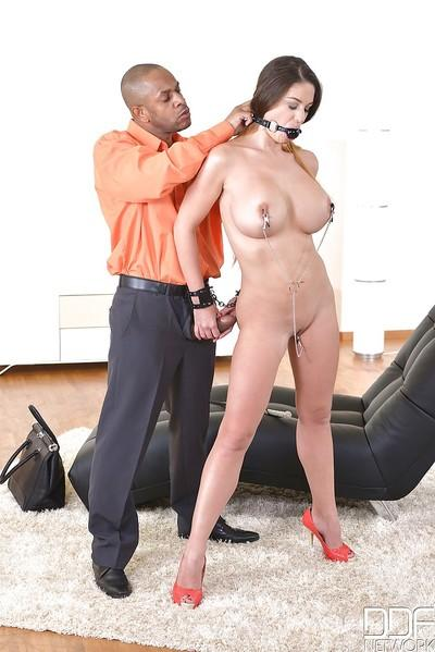Euro chick Cathy Heaven endures BDSM session by large black penis