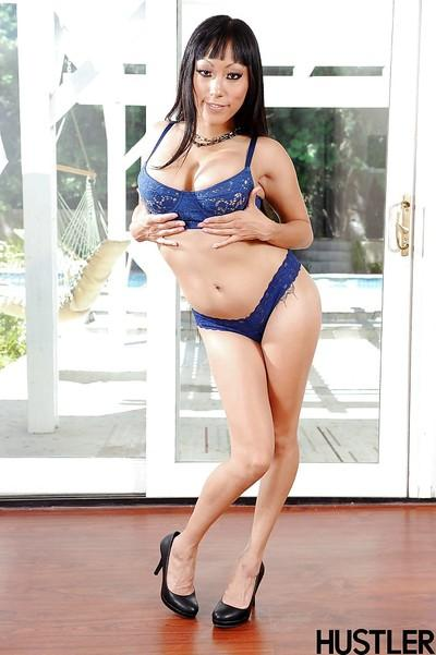 Curvy Asian babe Gaia modeling in lingerie for sexy photo shoot