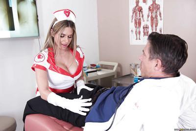 Hot blonde nurse Rachel RoXXX taking a cumshot on huge knockers