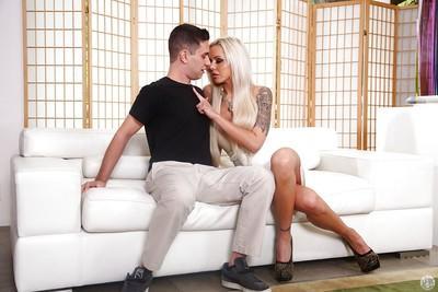 Busty blonde cougar Nina Elle seducing younger stud for sex