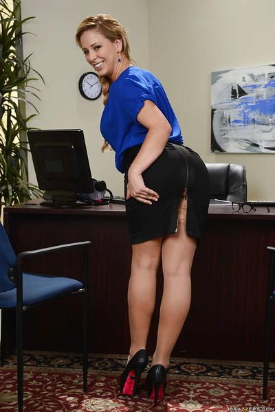 Blonde business lady Cherie DeVille takes off glasses and fondles big taits