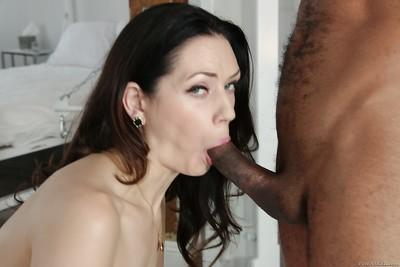 Brunette MILF Sarah Shevon gives a big black dick a messy blowjob