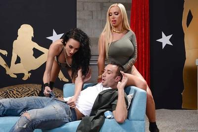 Threesome sex featuring milf pornstar Alektra Blue her friend Nikki Benz