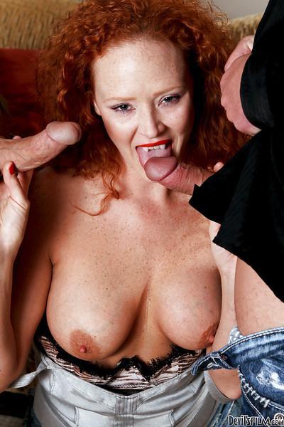 Lewd MILF Audrey Hollander enjoys two rigid dicks filling her shaved holes