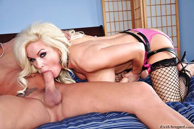 Adorable blonde pornstar Diamond banged her man in the ass