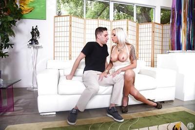 Buxom blonde mom Nina Elle taking cumshot on face after giving head