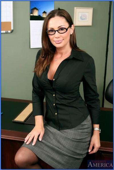 Busty MILF teacher in glasses Sky Taylor strips to gartered stockings