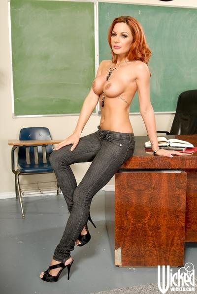 Sexy teacher with big tits Kirsten Price stripping in the class