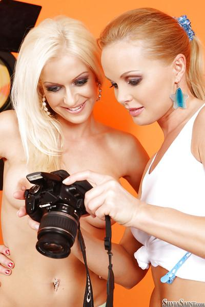 Hot pornstars Silvia Saint & Stacy Silver playing with their sex toys