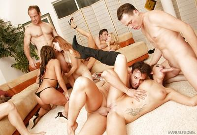Wild groupsex with a bevy of busty MILFs ready to suck cock and take anal