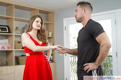 Milf with oiled asshole Allison Moore sucks her masseur