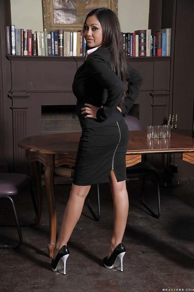 Curvy indian MILF with big jugs Priya Anjali Rai stripping in the office