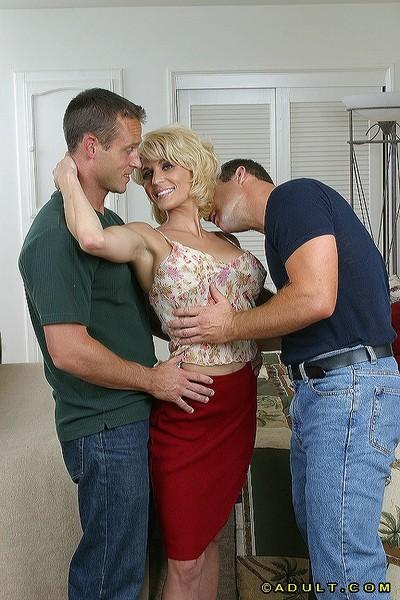 Kicky MILF gets her face and boobs glazed with jizz after hard threesome
