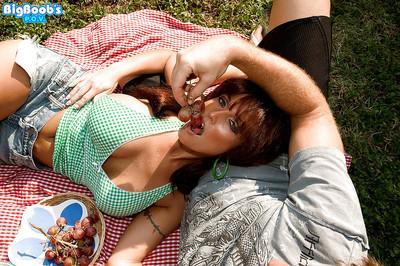 Busty redhead MILF Sarah Sunshine taking hardcore Gonzo style sex outdoors