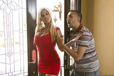 Blonde pornstar in a sexy red dress Abbey Brooks fucking with Bridgette B