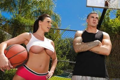 Outdoor sports with big tits milf cutie Kendra Lust in tight shorts