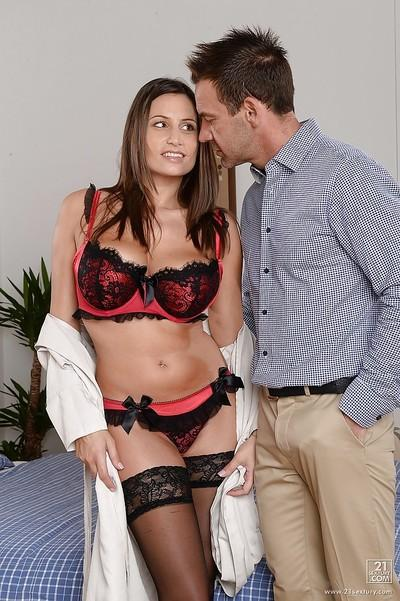 European chick with big natural boobies is sucking this hard prick