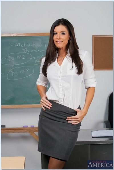 Filthy teacher in stockings India Summer stripping in the class