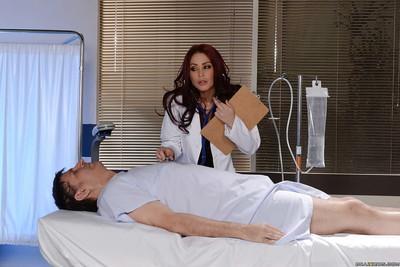 Pantyhose clad doctor Monique Alexander flashes white panties under uniform