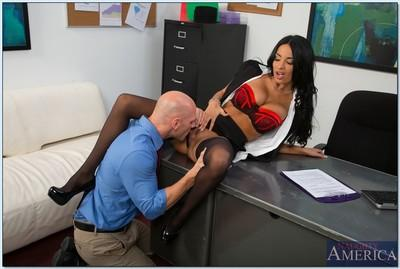 Seductive office lady Anissa Kate gets her pussy licked and cocked up