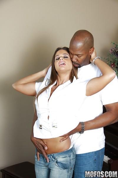 MILF Cathy Heaven gives a deepthroat blowjob and has interracial sex