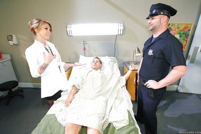 Sexy MILF doctor in black stockings Monique Alexander fucks her patient