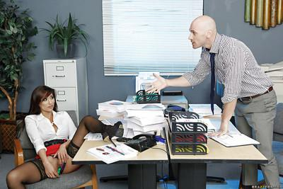 Sultry office cougar Reena Sky taking doggystyle fucking over desk at work