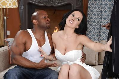 Gorgeous MILF gets her mouth and love holes filled with two black dongs