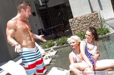 Latina Allie Haze and MILF Phoenix Marie bang a horny stud in a pool