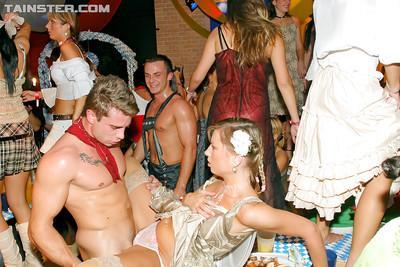 Lustful european MILFs enjoy a wild sex orgy at the drunk party
