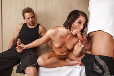 Casey Cumz has a threesome groupsex and receives a double facial cumshot