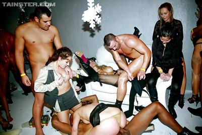 Jizz starving european MILFs enjoy a wild orgy at the night club party
