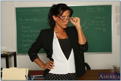 Appealing teacher Lezley Zen denudes ripe juggs and good looking pussy