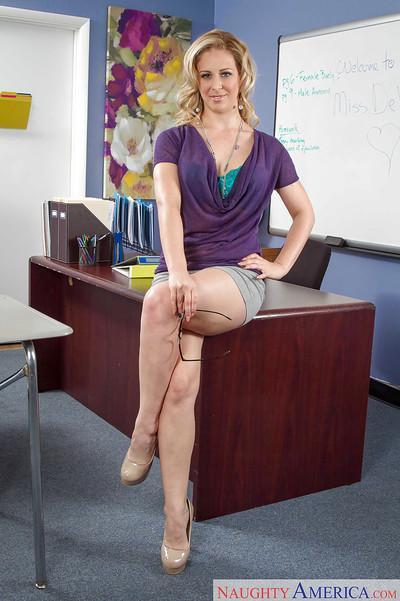 Teacher blonde Cherie DeVille spreading legs and masturbating