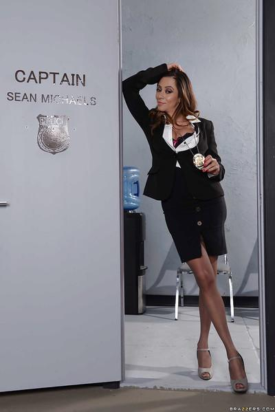 Latina solo girl Ariella Ferrera baring big MILF tits in office