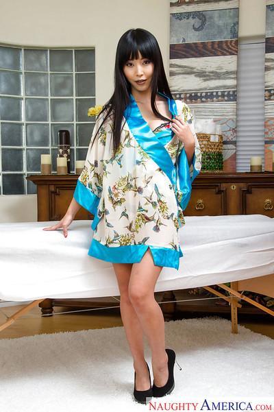 Exotic Asian babe Marica Hase undressing for masturbation of pussy